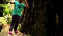 Little girl walks across fallen log