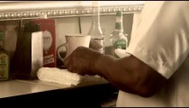 Royalty Free Stock Footage of Barber cleaning supplies.