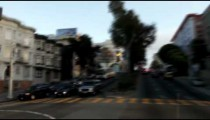 Driving near a cathedral in San Francisco.