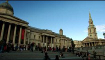 Shot pans the National Gallery and St. Martin-in-the-Fields on October 7, 2011 in London.