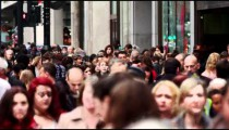 Crowded Oxford Street in slow motion on October 8, 2011 in London.