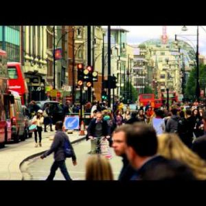 Bustling Oxford Street on October 8, 2011 in London.