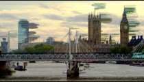 London Eye, Hungerford Bridge and Westminster panorama