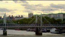 Hungerford Bridge panorama with London Eye, Westminster and Big Ben