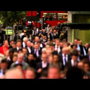 Businesspeople on a busy street in London