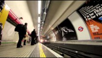 People waiting for tube in London