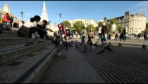 People feed the pigeons at Trafalgar Square on October 7, 2011 in London