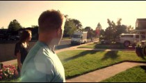 Royalty Free Stock Footage of Friends helping people move into their new home.
