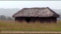 Grass hut in a field in Africa.