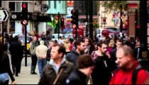 Traffic and unidentified people on a street on October 7, 2011 in London