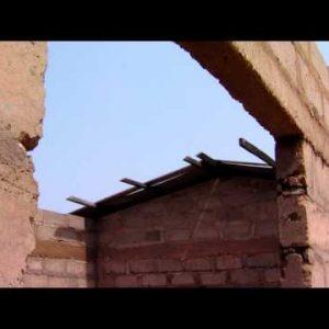 Broken brick building in Africa.