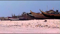 Boats on a beach in Africa.