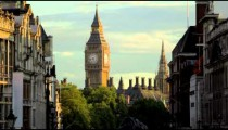 Big Ben clock tower and houses