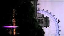 Vertical view of the Millennium wheel at night in London