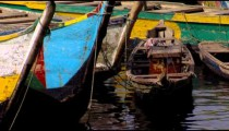 Close up of boats in a harbor in Africa.