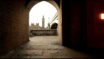 An archway viewing Big Ben in London
