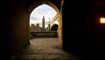 Viewing Big Ben from an archway in England