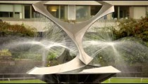 The Revolving Torsion fountain in St. Thomas' Hospital courtyard in London.