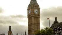 Low angle view of the top part of Big Ben in London, England.