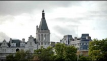 Traveling view of Whitehall Court from the Thames River in London.