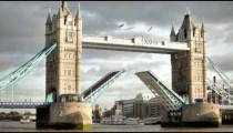 Bascules raise on Tower Bridge in London, England.