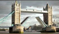 Time lapse of the Tower Bridge bascules raising, boats pass under, located in London, England.