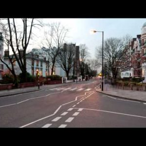 Time-lapse of traffic at Abbey Road in London.
