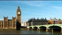 Traffic crosses London's  Westminster Bridge in a time-lapse shot
