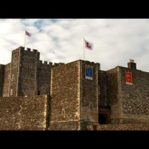 Time-lapse of flags blowing over Dover Castle