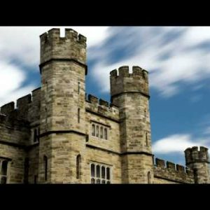 Time-lapse of clouds passing over Leeds Castle in England.
