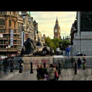 LONDON - CIRCA OCTOBER 2011: Time-lapse shot at Trafalgar Square circa October 2011 in London