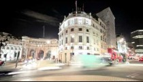 Time-lapse of traffic around Charing Cross in London.