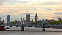 Time-lapse of Big Ben and the Hungerford bridge in London.