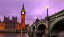 Time-lapse of Big Ben at nightfall.