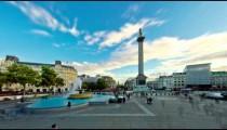 Time-lapse of people in Trafalgar Square in London.