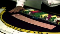 Royalty Free Stock Footage of Card shuffling trick at a casino.