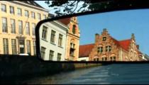 Buildings in Brugge, Belgium reflected in a mirror.