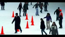Royalty Free Stock Footage of Tourists skating at Wollman ice rink in Central Park, New York City.