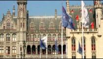 Panoramic of a city plaza in Brugge, Belgium.