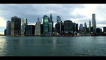 Royalty Free Stock Footage of Manhattan skyscrapers and the Hudson River in New York City.