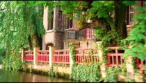 Royalty Free Stock Footage of Foliage on a canal in Brugge, Belgium.