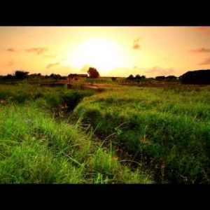 Green field and dry ravine at sunset in Kenya.