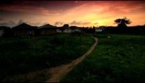 Huts at sunset in Kenya.
