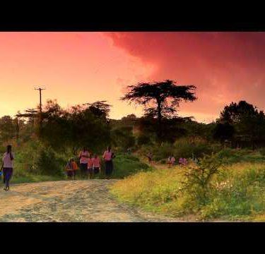 Students walking to school in Kenya in the morning.