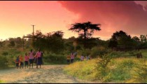 Some Students walking to school in Kenya in the morning.