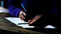 Close up of classwork in Kenya.