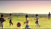 Children playing soccer on the fields in Kenya.