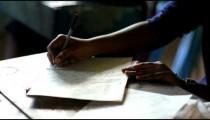Close up of schoolwork in Kenya.