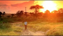 School boy walking at dawn in Kenya.