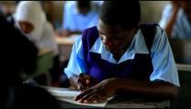 Test taking in a school in Kenya.